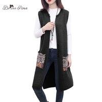 BelineRosa 2017 Women S Sleeveless Open Stitch National Style Polka Striped Pockets Vest Open Stitch Knitting