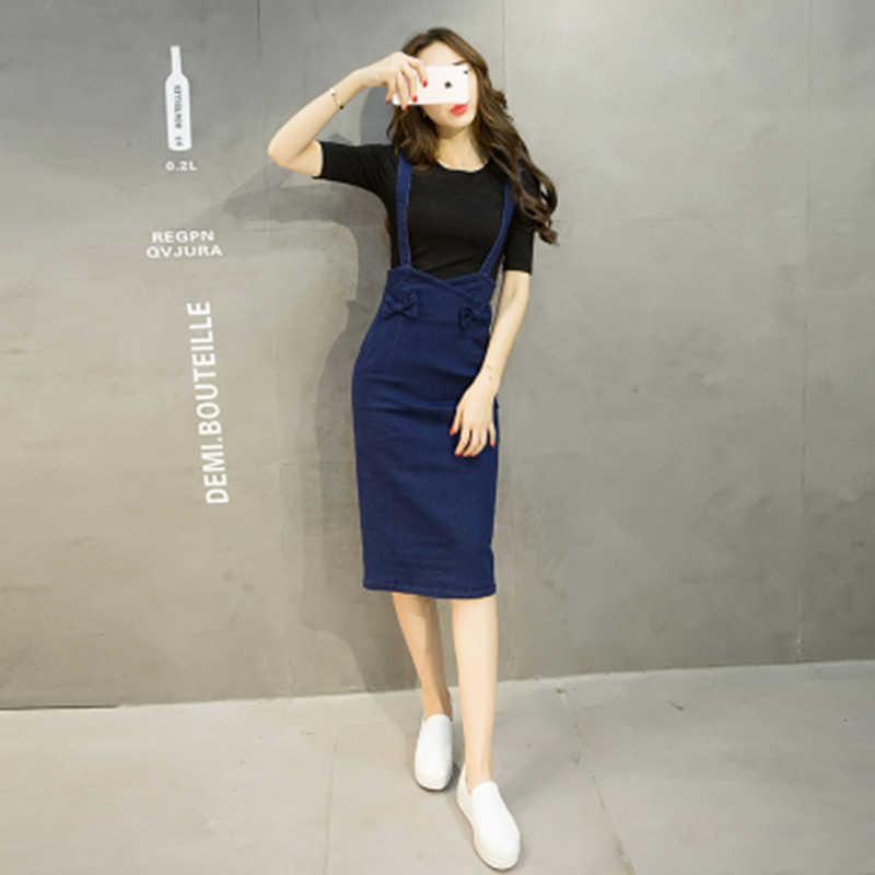 2019 Летняя женская джинсовая юбка-карандаш с перекрестными ремешками, посылка на бедрах средней длины, Женская юбка с бантом, тонкая синяя юбка с высокой талией, femme faldas