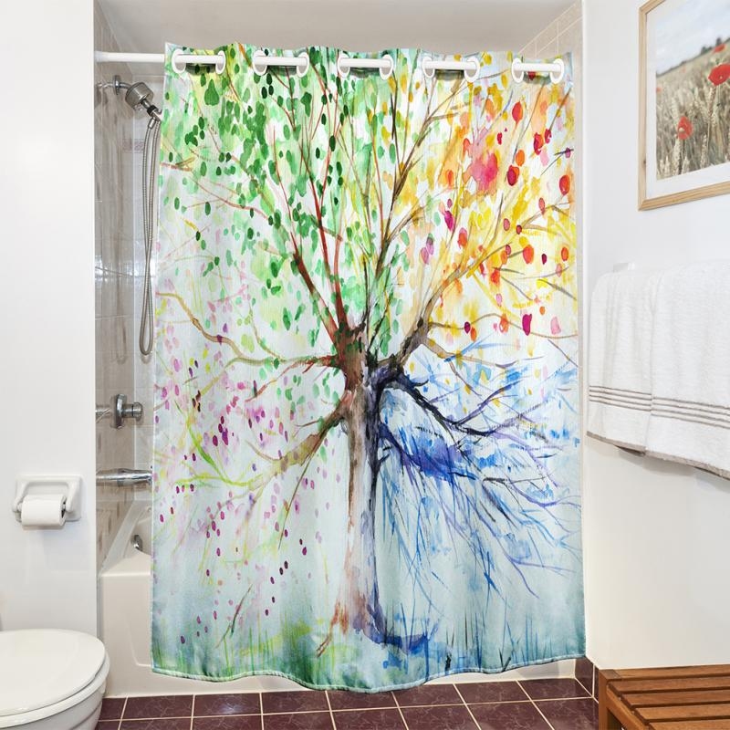colorful tree four seasons polyester waterproof shower curtain bathroom decorchina