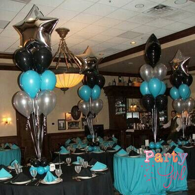 10pcs Sliver Black Star Balloons Tiffany Blue Party Decoration Foil