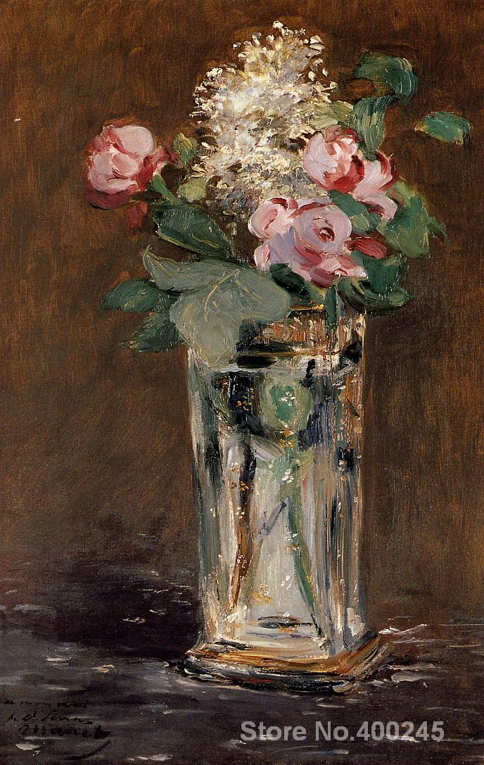 Art oil Painting Flowers in a Crystal Vase by Edouard Manet High quality Handmade