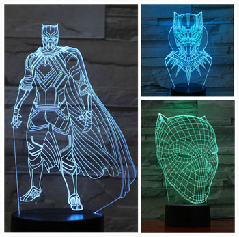 цена Usb 3d led night light Marvel The Avengers super heroe Black Panther Figure 3D Illusion Multicolor RGB table lamp bedroom neon онлайн в 2017 году