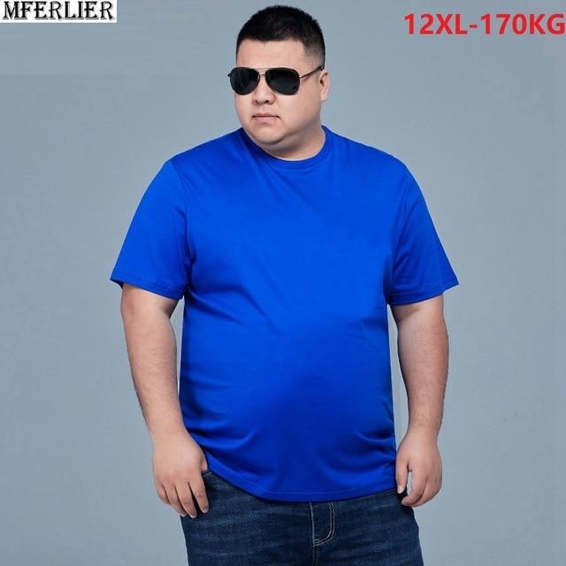 MFERLIER men t-shirts short sleeve summer plus size big tees cotton 8XL 10XL 12XL Home tshirt navy tops 54 56 58 60 62 64 66 68