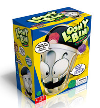 Loony Bin Game trash can players throwing paper balls into the moving trash can funny toy
