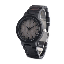BOBO BIRD C30 Men's Black Ebony Wooden Watch with All Wood Strap Quartz Analog Luxury Gray Dial Diameter 45mm