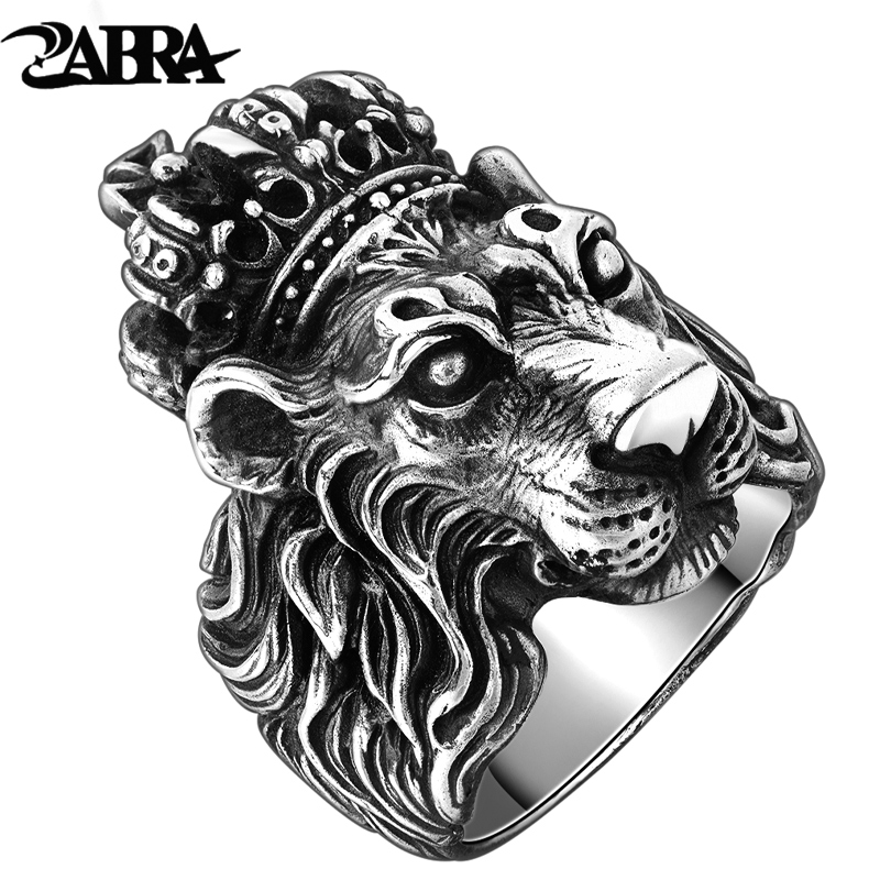 ZABRA Authentic Real Real 925 Sterling Silver Crown Lion King Ring for Men Boy Punk Retro Vintage Cool Biker Lion Head Ring