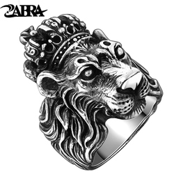 ZABRA Authentic Real Solid 925 Sterling Silver Crown Lion King Ring for Men Boy Punk Retro Vintage Cool Biker Lion Head Ring