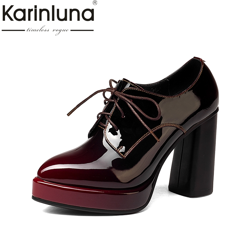 KARINLUNA 2018 Large Size 33-43 Genuine Leather Women Shoes Woman Sexy Platform High Heels Lace Up Party Wedding Pumps цена