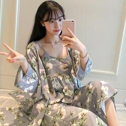 Для женщин осень пижамы пикантные цветочный принт дамы Домашняя одежда 3 комплекты ночных рубашек спагетти Пижама с поясом ночное женщина