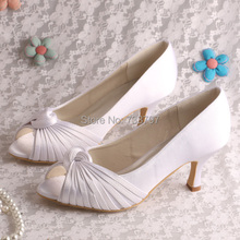 Wedopusที่กำหนดเองที่ทำด้วยมือผ้าซาตินสีขาวกลางส้นรองเท้าแต่งงานกับเปิดเท้า