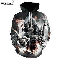 WZZAE 2018 New Design Skull Poker Print Men Women Hoodies Funny 3D Sweatshirts Autumn Winter Pullover