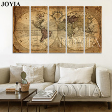 5 Piece Canvas Art Print Vintage Home Decor World Map Painting Calligraphy Ancient A Map of The World Retro Pictures (No Frame)