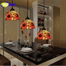 FUMAT Stained Glass Shade Pendant Light TiffanyLamp Hanglamp Sunflower Hanging Lighting Fixtures luminaria lights Pendant Lamp fumat stained glass pendant lamps european style baroque lights for living room bedroom creative art shade led pendant lamp