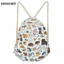 edd28adcde5 INSTANTARTS Cute Animal Dog Pattern Women Gym Bag Doggy Doodle Art Print  Small Shoes Drawstring Bag