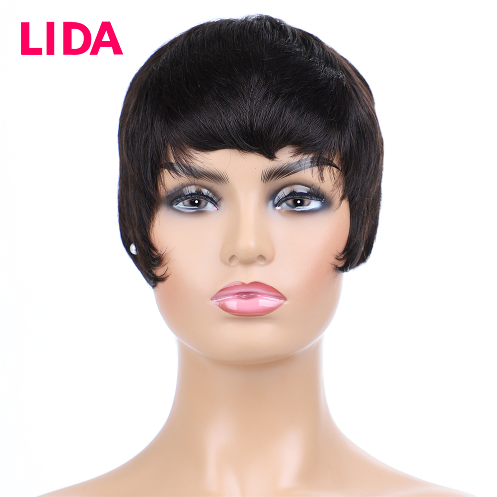 Lida Human Hair Short Straight Wig Machine Made Non Remy Wig 6 Inch Brazilian Straight Hair 120% Density Short Wig For Women