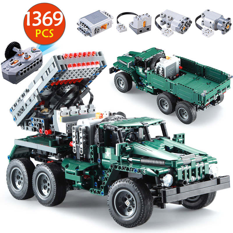 Cada 1369PCS RC Rocket Launcher Truck Car Building Blocks Legoing Military Technic Power Funcation MOC Bricks Toys For Kids