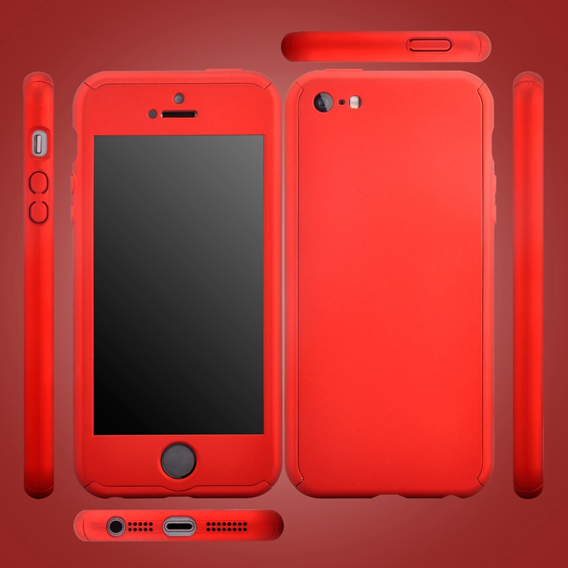 purchase cheap 2594d 5a3e4 US $4.98 |Roybens 360 Full Body Cover + 9H Tempered Glass Screen Protector  PC Ultra Thin Cases for iPhone 5S SE Case 5 Fundas Shockproof-in ...