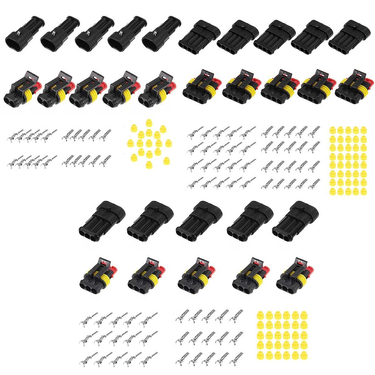 15 Sets Waterproof Electrical Wire Connector 2 3 4 Pins Way Mototcycle Car Auto Sealed Plug IP68