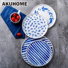 Blue Pattern Ceramic Salad Plate Simple And Creative Noodles Dish European Vegetables Dessert  AKUHOME