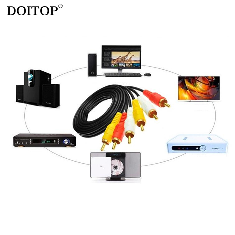 DOITOP HD Audio Video AV Cable Plug for FC Game Player Compact HDTV DVD Game Console TV Box 3RCA Male to 3 RCA Male TV Cable