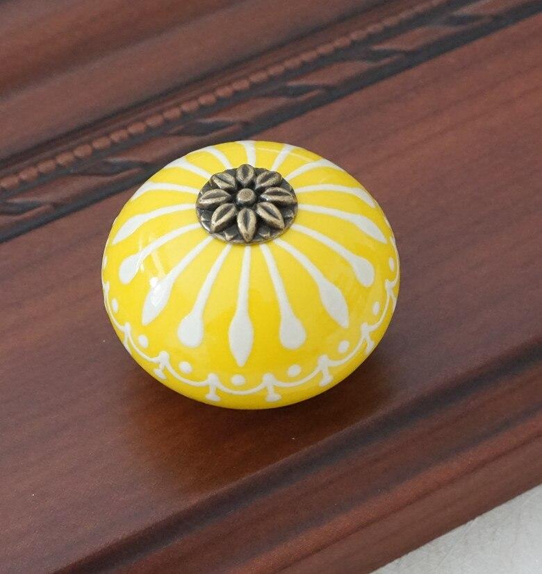 Керамическая ручка/ручки для комода белого и синего цвета, ручки для шкафа/уникальная ручка для кухонной двери, мебельная фурнитура - Цвет: Цвет: желтый