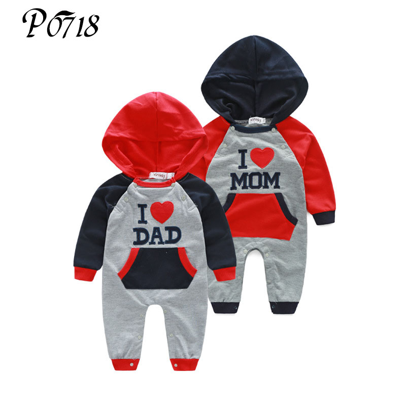 2018 Hot Long Sleeve Baby Jumpsuits Spring Autumn Clothing I Like Mom Dad Boys Hooded Romper Newborn Kids Girl Siamese Clothes newborn winter autumn baby rompers baby clothing for girls boys cotton baby romper long sleeve baby girl clothing jumpsuits