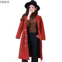 LXUNYI Autumn Long Coat Women Plus Size 5XL Elegant Double Breasted Slim Korean Ladies Trench Coats