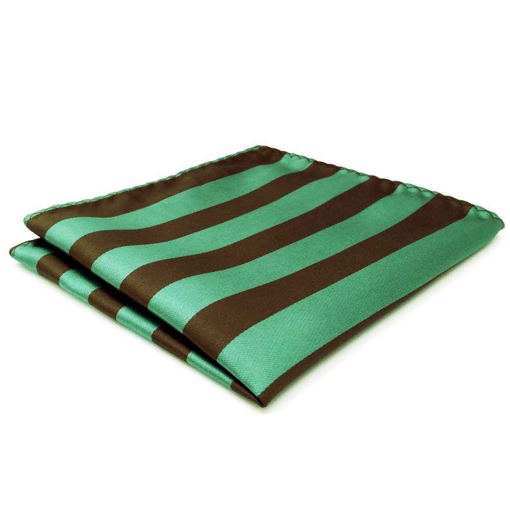 CH27 Striped Green Brown Mens Pocket Square Silk Handkerchief Accessory Large 12.6
