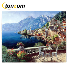 RIHE Seascape By Numbers DIY Open Balcony With Flower Painting Handwork On Canvas Oil Art Coloring Home Decor Gift
