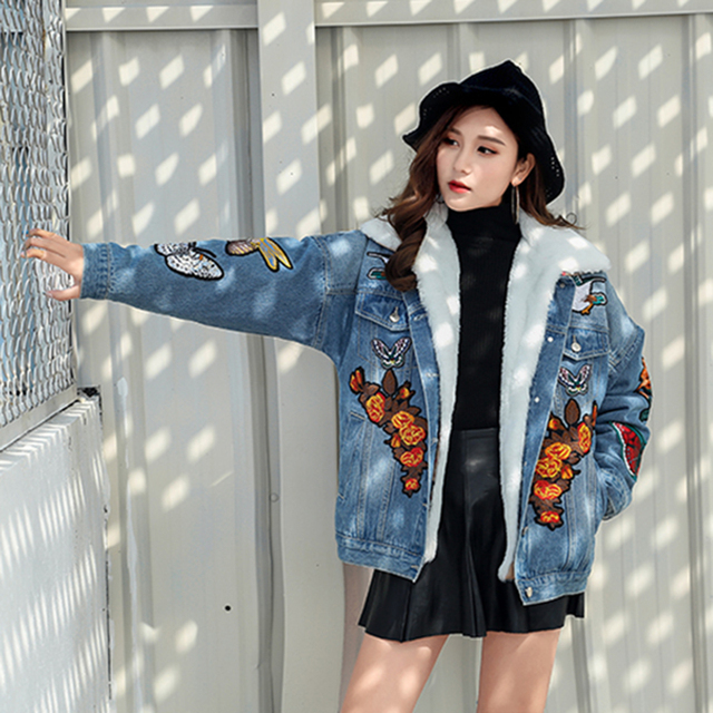 95e1cb0eb2d Tiger Butterfly Floral Embroidery Ripped Women Men Denim Jackets 2018  Fashion Design European Style Women s Jacket Blue Color