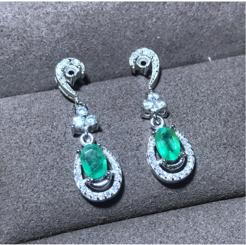 Emerald stud earring Free shipping Natural real emerald 925 sterling silver earringsEmerald stud earring Free shipping Natural real emerald 925 sterling silver earrings