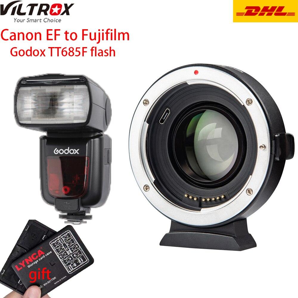 Viltrox EF-FX2 Auto Focus Lens Adapter 0.71x For Canon EF To FUJIFILM X-T3 X-PRO2 X-T100 X-H1 X-A20 With Godox TT685 For Fuji