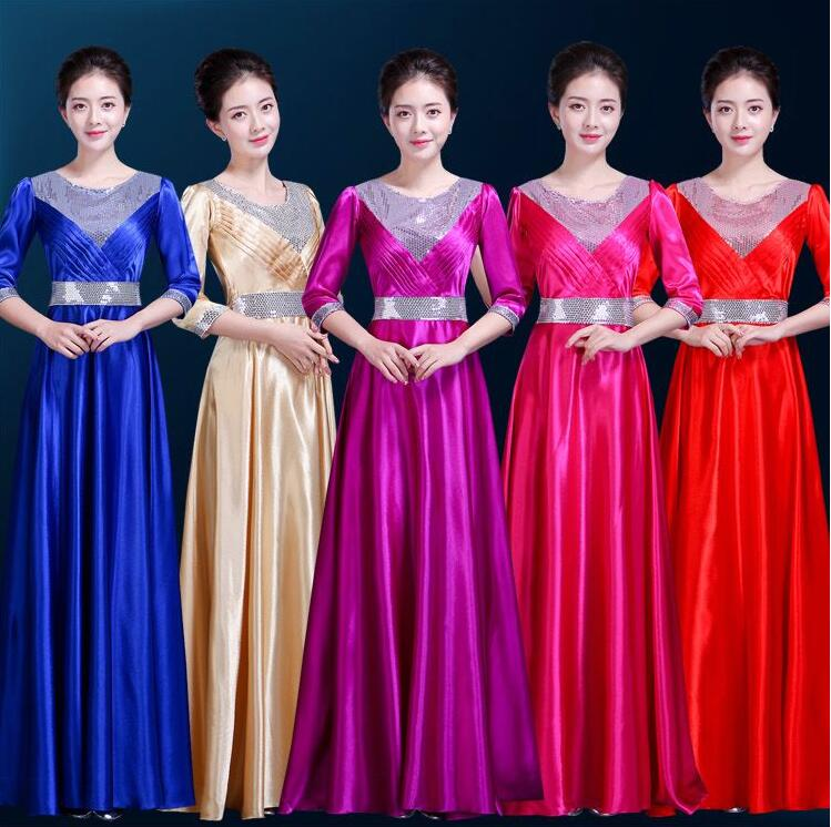 2019 Women's Dancing Stage Wear choral service dress middle-aged choir chorus costumes stage performance clothing female dress