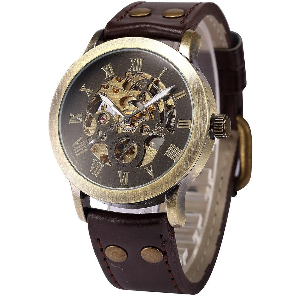 Men's Steampunk Bronze Skeleton Self-Winding Auto Mechanical Leather Wrist Watch cjiaba 003 men s skeleton pu band self winding mechanical analog wrist watch black white
