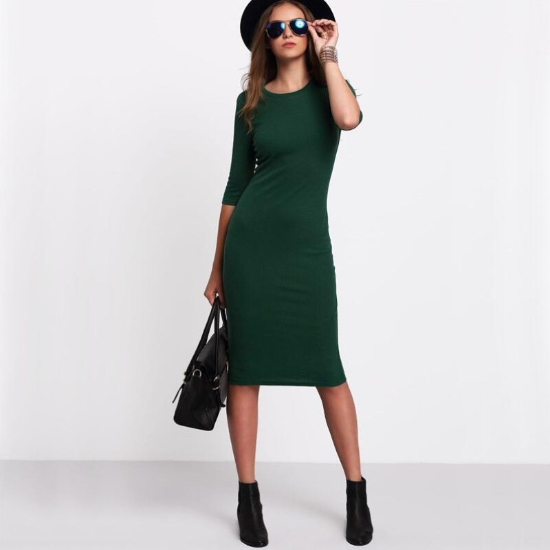 <font><b>Work</b></font> Summer Style Women Bodycon <font><b>Dresses</b></font> <font><b>Sexy</b></font> <font><b>2018</b></font> New Arrival Casual Green Crew Neck Half Sleeve Midi <font><b>Dress</b></font> image
