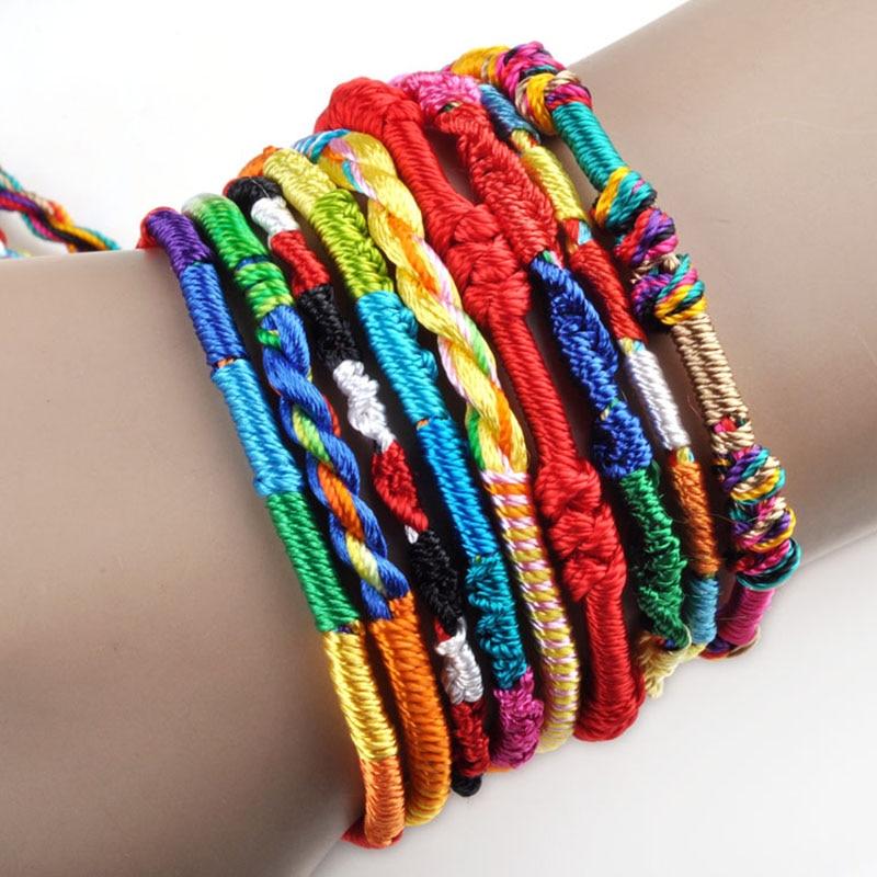 10Pcs/Lot Handmade Braided Bohemian Colorful Rainbow Rope