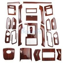 цена на 27pcs For Toyota Land Cruiser 150 Prado LC150 FJ150 2010-2017 Interior Wooden Color Trim Package Chrome Car Styling Accessories
