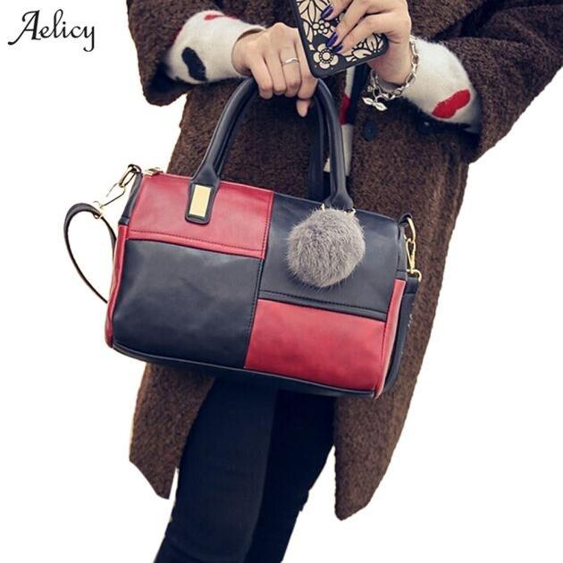 f536dec114 Aelicy Girl Shoulder Bag Leather Splice Women Handbag Tote Satchel Lady  CrossBody Bag bolsa feminina dropshipping 2019 hot sale