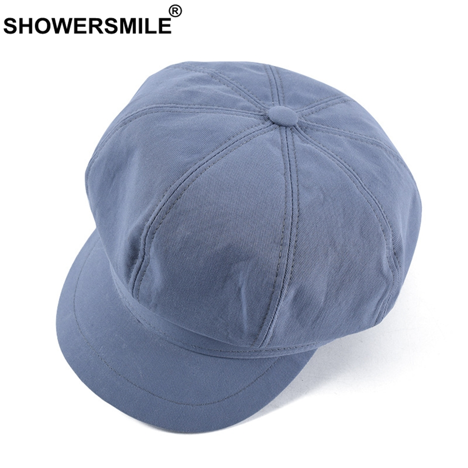 DemüTigen Showersmile Frauen Zeitungs Hüte Sommer Blau Maler Hut Baumwolle Weibliche Achteckige Flache Kappe Casual Retro Damen Ivy Cabbie Cap 2019