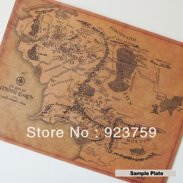 Vintage Replication MIDDLE EARTH Forodwaith map pating bar pub home wall decor retro art Poster 20x15inchu