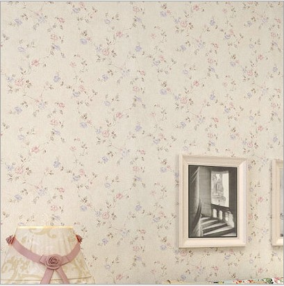 10m*53cm Non-woven fabric field pink flower wallpaper The sitting room the bedroom background wall stickers Korean sweet floral new non woven wall stickers simple plain coloured stripe wallpaper the sitting room the bedroom wall paper in the background