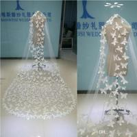 In Stock Wedding Veils Butterfly Appliques Bridal Veils White Ivory Sheer Tulle One Layer Long Veil With Combs Real Image