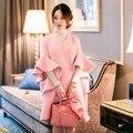 Дизайнер Британский стиль 2016 женщин осень зима мода розовый flare рукав волна вырез ruffled люрексом твид шерсть партийной работы пальто 1188