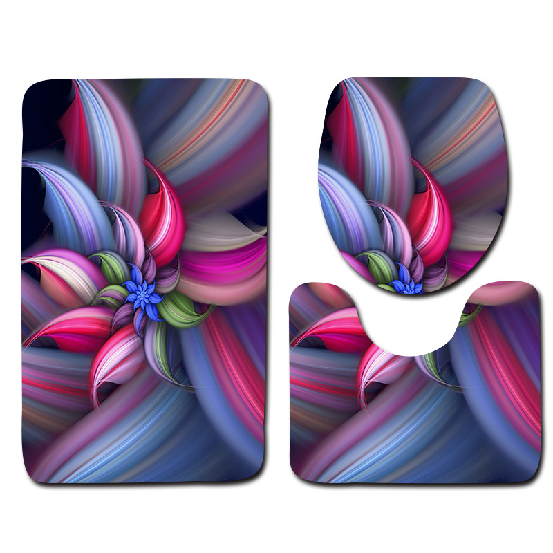 Flower Printed 3pcs Mats For Bathroom And Toilet Washable Pedestal Rug Lid Toilet Cover  ...