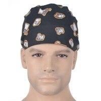 Lab Doctor Nurse Scrub Medical Caps 100 Cotton Adjustable Unisex Surgical Hats Electronic Set Black Meitian