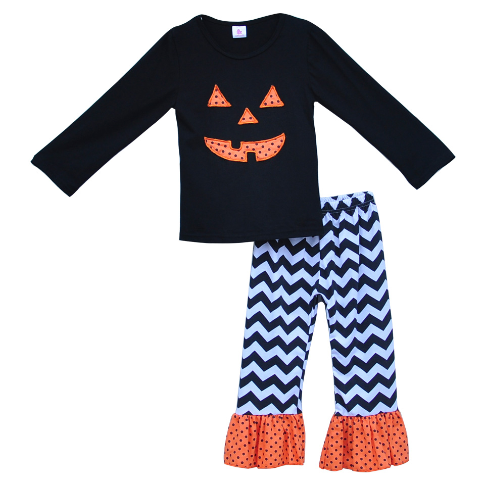 Toddler Girls Boutique Ruffle Clothing Sets Soild Color Black Cute Pumpkin Top Chevron Stripes Pants Sets For Halloween H012