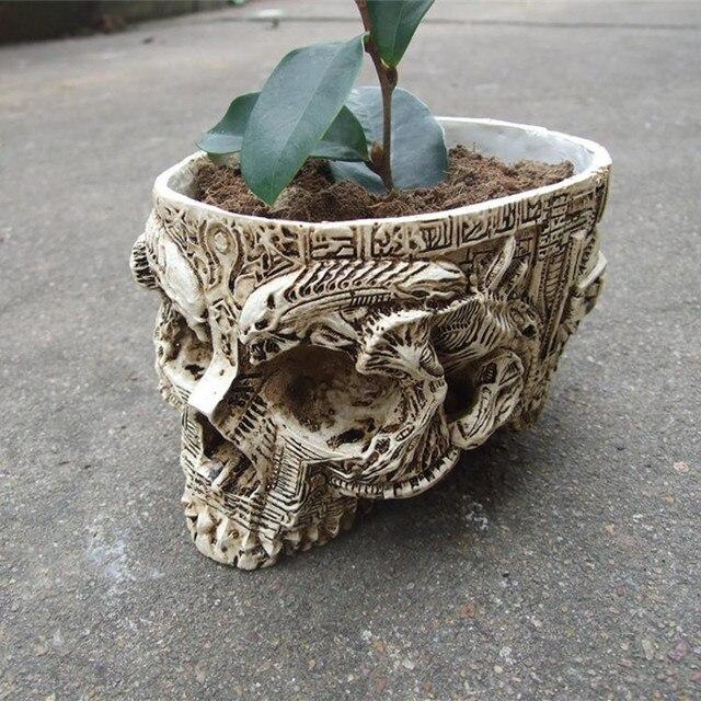 P-Ngọn Lửa Trắng Sọ Người Planter Dùng Cổ Lưu Trữ Vườn Chậu Nhựa Kết Thúc Skeleton Container Chậu Hoa Chậu Để Trang Trí