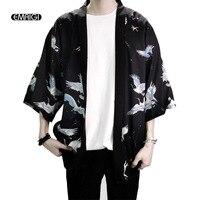 Retro Printing Fashion Men Kimono Cardigan Shirt Harajuku Street Thin Coat Outerwear Casual Loose Short Sleeve