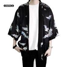 EMAIGI Retro Printing Men Kimono Cardigan Harajuku Street Thin Coat Outerwear Casual