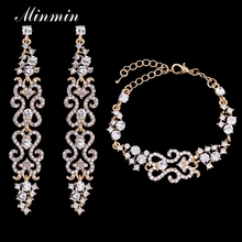 Minmin 2 Colors Bridal Crystal Jewelry Sets for Women Wedding Waves Bracelet Long Earrings African Beads Jewelry EH193+SL023